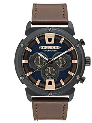 Police Mens Chronograph Quartz Watch with Leather Strap 15047JSB/03