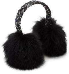 Surell Tweed& Dyed Fox Fur Earmuffs