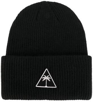 Palm Angels logo patch beanie hat