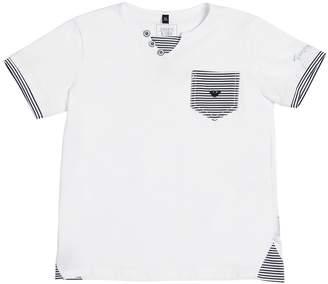 Armani Junior Cotton Jersey T-Shirt W/ Striped Details
