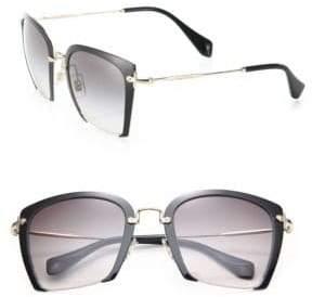 Miu Miu 52MM Semi-Rimless Acetate& Metal Square Sunglasses