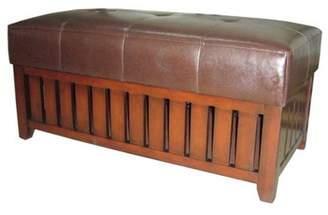 Ore International Cushion Storage Wooden Bench, Brown