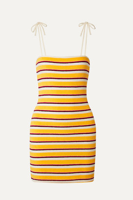 Solid & Striped Striped Cotton-blend Terry Mini Dress - Yellow