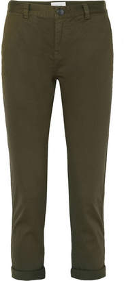 Current/Elliott The Confidant Cotton-blend Twill Straight-leg Pants - Army green