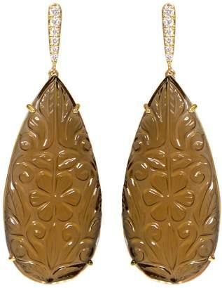 Ri Noor - Carved Smoky Topaz Earrings
