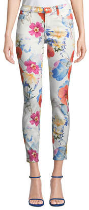 7 For All Mankind The Ankle Skinny Mid-Rise Floral-Print Jeans