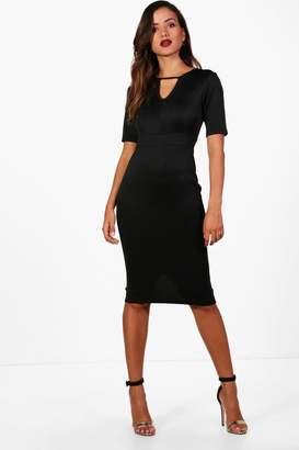 boohoo Faye Key Hole Short Sleeve Bodycon Dress