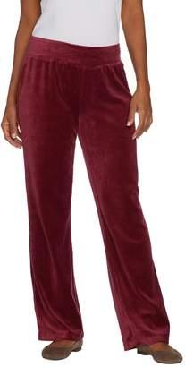Denim & Co. Petite Stretch Velour Straight Leg Pull-On Pants