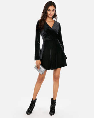 Express Petite Velvet Surplice Fit And Flare Dress