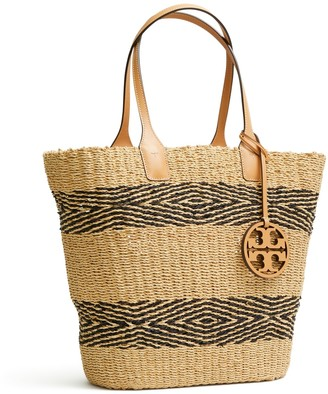 Tory Burch MILLER STRAW STRIPE TOTE