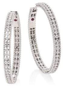 Roberto Coin Symphony Large Diamond& 18K White Gold Hoop Earrings/1.25""