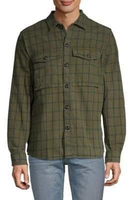 French Connection Windowpane Plaid-Print Button-Down Shirt
