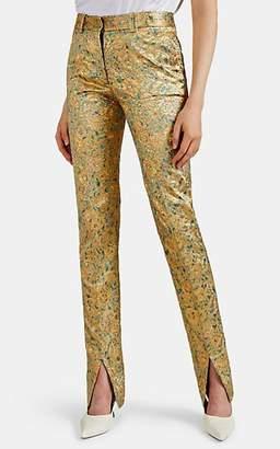 Victoria Beckham Women's Split-Hem Lamé Skinny Trousers - Gold