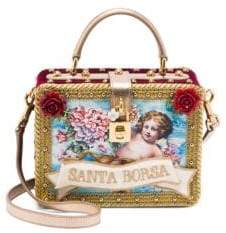 Dolce & Gabbana Velvet Applique Convertible Silk Top Handle Bag