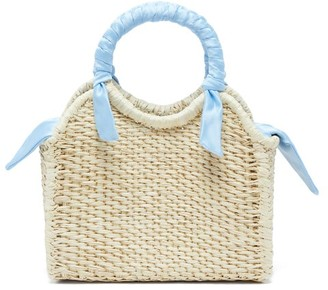 Sensi Studio - Mini Silk Trimmed Straw Basket Bag - Womens - Light Blue