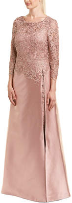 Teri Jon By Rickie Freeman Silk-Blend Gown