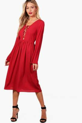 boohoo Lace Up Front Fluted Sleeve Midi Dress