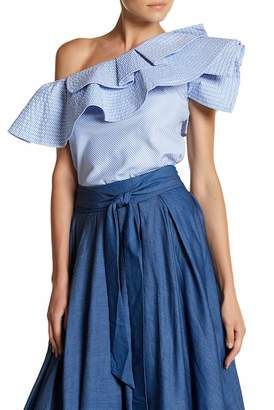 Gracia Off-the-Shoulder Ruffle Popover Pinstripe Blouse