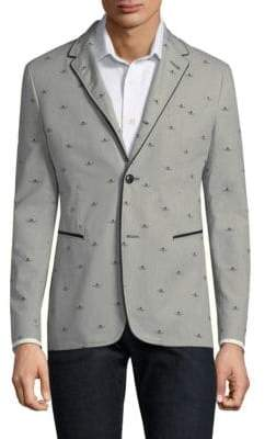 John Varvatos Piped Graphic Blazer