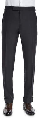 Tom Ford O'Connor Base Flat-Front Sharkskin Trousers, Charcoal