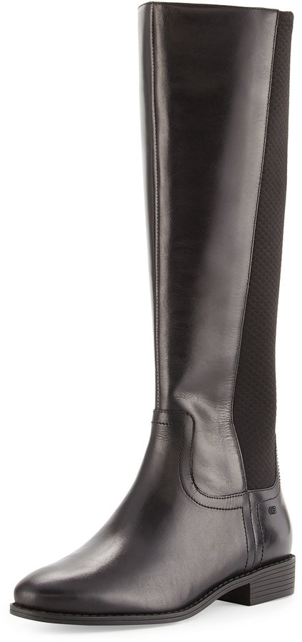 Cole Haan  Cole Haan Tilley II Leather Stretch-Back Knee Boot, Black