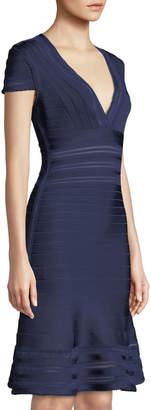 Herve Leger Picot-Trim V-Neck Bandage Dress
