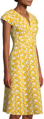 Zac Posen Mimosa Lace Cap-Sleeve Sheath Cocktail Dress