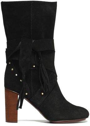 See by Chloe Fringe-Trimmed Studded Suede Boots