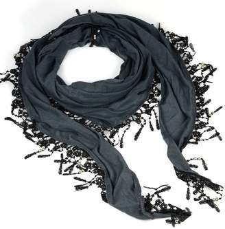 HUAN XUN Triangle Scarf with Lace Fringe Knitting Scarf, Jewelry Beads Scarves Shawl