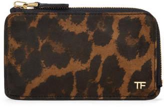 Tom Ford Leopard-Print Nubuck Zip-Around Cardholder - Men - Brown