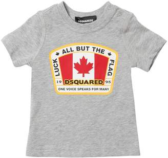 DSQUARED2 Canadian Flag Cotton Jersey T-Shirt