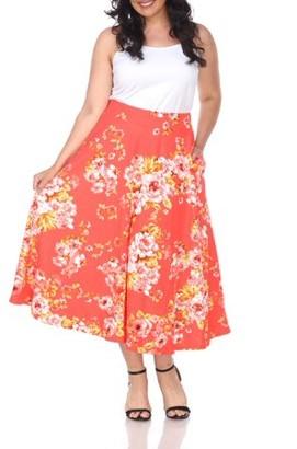 White Mark Women's Plus Size Floral Midi Skirt