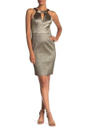 Trina Turk Mackie Metallic Front Keyhole Dress