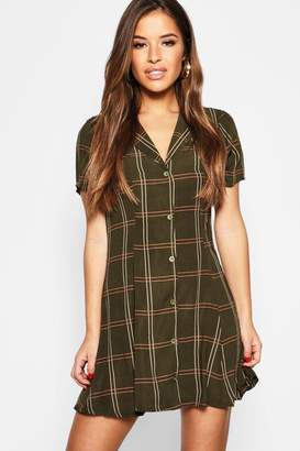 boohoo Petite Checked Button Front Tea Dress