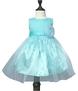 K-Cliffs Chiffon Tulle Wedding Pageant Flower Girl Dress Bow Tie Sash Satin Skirt, Sea Blue 90