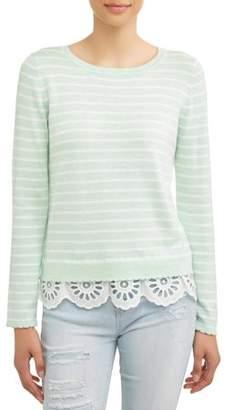 N. Heart Crush Women's Striped Lace Trim Sweater