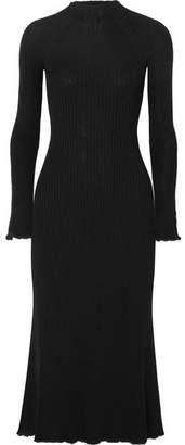 Sonia Rykiel Ribbed Wool-blend Midi Dress - Black