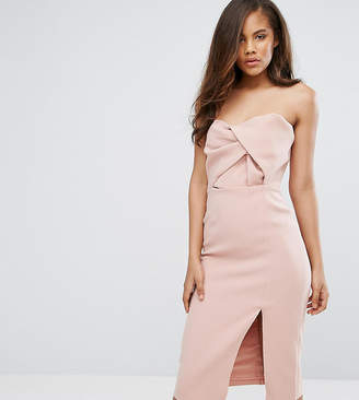 True Decadence Tall Exagerated Bow Detail Bandeau Midi Dress
