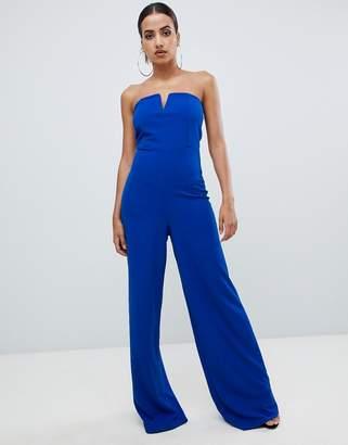 Missguided Tall bandeau wide leg jumpsuit in cobalt blue