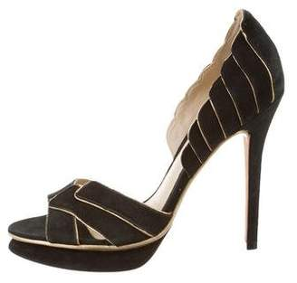 Alexandre Birman Leather-Trimmed Suede Sandals