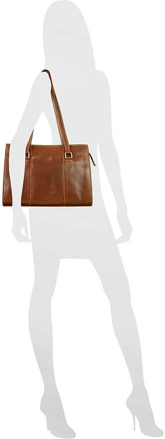 Chiarugi Handmade Brown Genuine Italian Leather Zip Satchel Bag