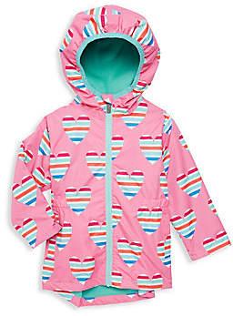 Hatley Little Girl's & Girl's Multicolor Hearts Rain Jacket