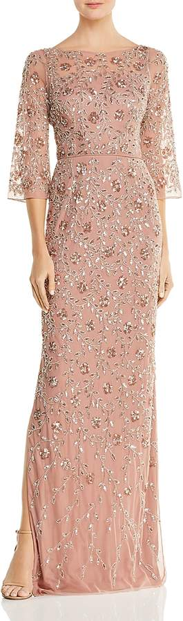 Embellished Boatneck Gown
