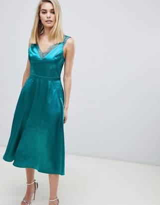 Little Mistress lace trim slinky midi dress in green e5b62834e