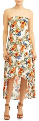 Love Sadie Women's Strapless Hi-Lo Maxi Dress