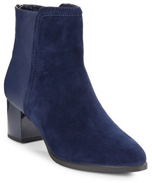 Bandolino Planta Leather and Suede Ankle Boots $109 thestylecure.com