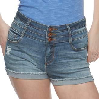Vanilla Star Juniors' Triplestack High-Waisted Denim Shortie Shorts