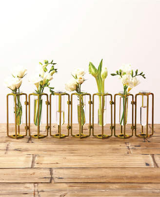 Twos Company Lavoisier Set of 7 Hinged Flower Vases with Antiqued Gold Finish