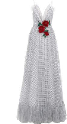 Rodarte Ruffle Hem Flocked Dot Chiffon Gown