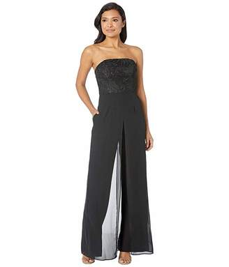 Adrianna Papell Embroidered Strapless Crepe Jumpsuit